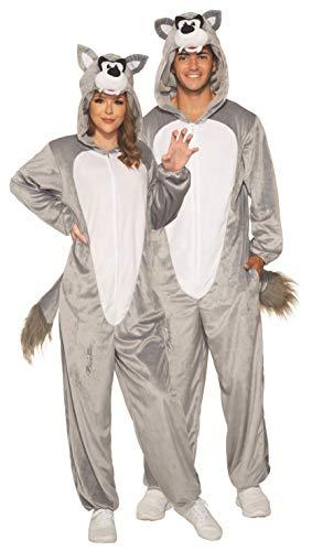 Forum Novelties Piece Hooded Fleece Costume Jumpsuit, Wolf, One Size
