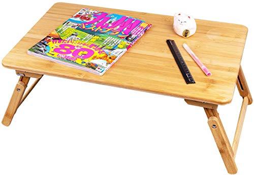 ノートパソコンデスク 折りたたみ式 テーブル 多功能ミニテーブル 天然竹製 高さ調節可能 万能テーブル コーヒーテーブル 子供読書 朝食サービングベッドトレイ (50*30cm-AS)