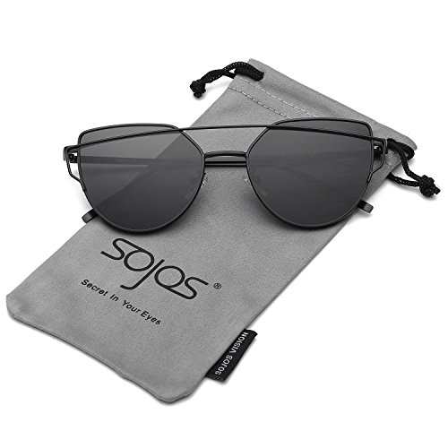 SOJOS Katzenauge Metall Rand Rahmen Damen Frau Mode Sonnenbrille Verspiegelt Linse Women Sunglasses SJ1001 mit Schwarz Rahmen/Grau Linse