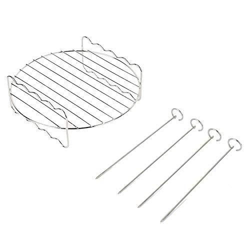 Grillrek, dubbellaagse roestvrijstalen BBQ grill, met 4 spiesen, voor buitenbarbecue Air Fryer HD9232, 17,5 cm x 7,5 cm