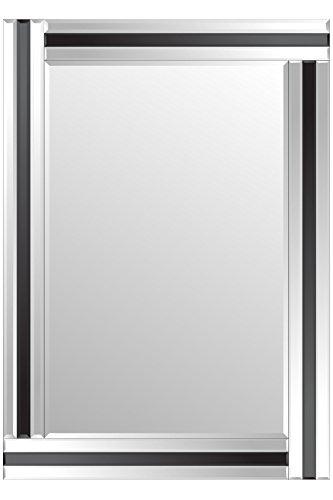 MirrorOutlet Modern Schwarz und Silber Triple abgeschrägten Wandspiegel 2x 3ft3FT3(luftdurchlässig)
