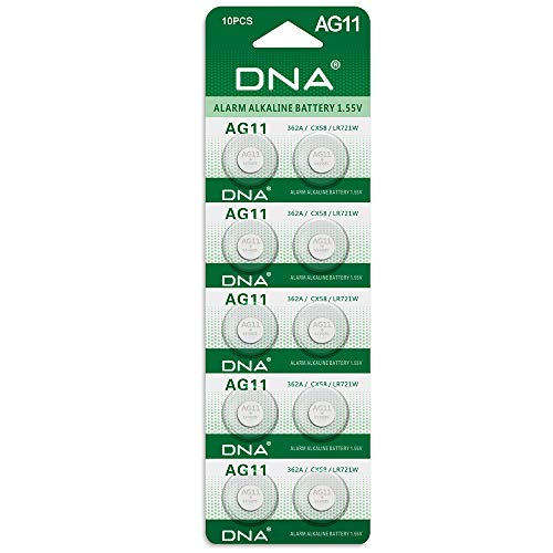DNA 10 x AG11 Alkaline Knopfzellen G11 LR58 LR58SW LR721 LR721SW SR721W 361 362 Typ