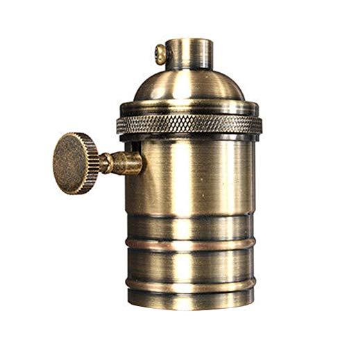 Retro-Lampenfassung, E26/E27, Antikes Kupfer, Messing, Edison-Lampenfassung mit An/Aus-Schalter, ES-Schraubschalter, Hängelampenfassung Retro Free Size Aeneous Messing
