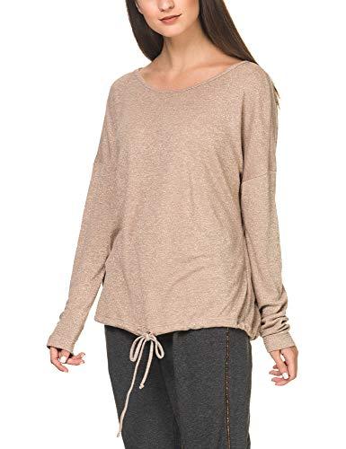 Deha Women's Lurex Sweatshirt Beige in size Medium
