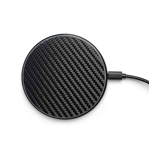 Wireless Charger Pad Carbon Fiber Design by Reveal Shop- Qi Certified, Fast Charging- Compatible w/iPhone 12/11/11Pro/XS Max/XR/XS/X/8/8Plus, Galaxy S6 to S10, S20 (Cable Included) (Black)