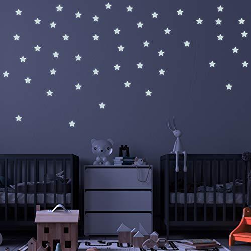 Pegatinas de pared BRILLAN EN LA OSCURIDAD ESTRELLAS 3D AZUL. Vinilo decorativo Pegatinas cielo estrellado FLUORESCENTES. Estrellas luminosas 4.2cm Decoración Habitación, niño y niña