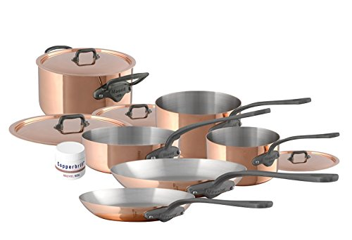 Mauviel 10 Piece Cookware set Cast stainless Steel Handle with Iron Color Finish, Copper