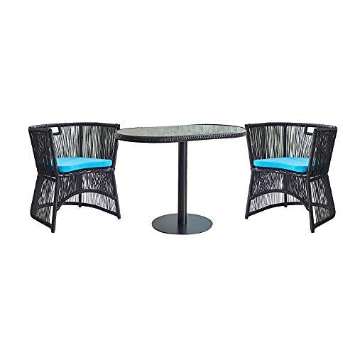 VBARV Bistrotisch- und Stuhlset aus Korbgeflecht, Gartenmöbel für Rasenflächen, Glastisch und 2 gepolsterte Stühle mit wasserdichter Polsterung, geeignet für Hinterhof, Garten und Veranda