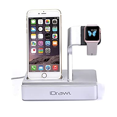 Apple Watch Stand, Apple Watch Charger iPhone Docking Station, i-DRAWL Charging Stand Portable 3 in 1 Multifunctional Charger Dock Cradle for iWatch and all Smart Phone