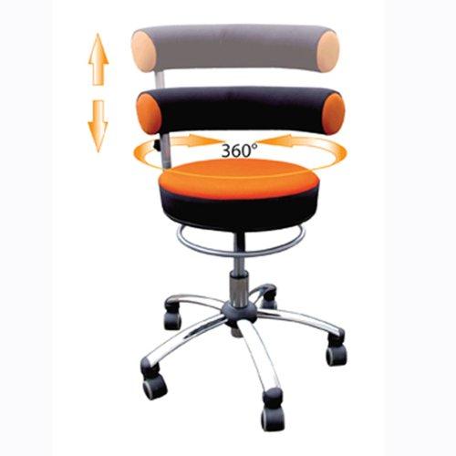 Sanus Gesundheitsstuhl mit höhenverstellbarer Lehne, Sitzhöhe standard (42 - 51 cm), orange/schwarz
