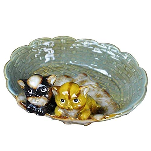 JKCKHA Bandeja Clave Porche salón Decoraciones del Arte del Arte del Gato de la decoración Plato de Fruta Multiusos jabonera cenicero