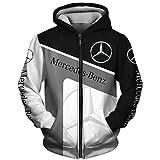 xiaosu Hombres Hoodies Chaqueta por Mercedes-Benz 3D Impresión Sudadera con Capucha Suéteres/Zip Sudadera-Fan Jersey Suelto / B1 / M