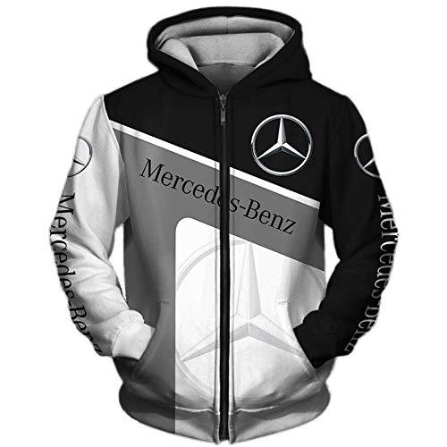 NISHUSHANW 3D Drucken Hoodies,Jacke Leicht Sweatshirt Zum Mercedes-Benz Unisex Herren Beiläufig Sportkleidung Draussen / B1 / 3XL