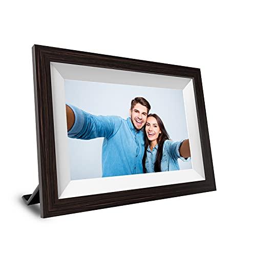Digitaler Bilderrahmen 10,1 Zoll, 1GB+16GB FHD Elektronischer Fotorahmen (Max 128GB), Touchscreen, 1280 x 800 IPS, WiFi, automatisch drehen, über die App geteilt Fotos/Videos 15s - schwarz