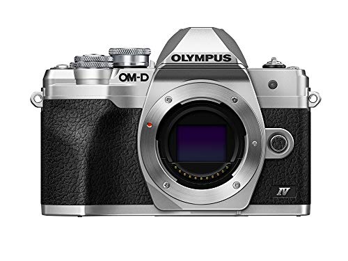 Olympus OM-D E-M10 Mark IV Micro-Four-Thirds-Systemkamera, 20 MP Sensor, 5-Achsen-Bildstabilisation, Selfie-LCD-Bildschirm, elektronischer Sucher, 4K-Video, leistungsstarker AF, Wi-Fi, silber