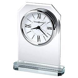 Howard Miller Quincy Table Clock 645-823 – Crisp Starphire Glass, Crystal Base, White Dial, Black Roman Numerals, Modern Home Décor, Quartz Alarm Movement