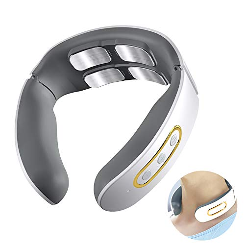 Neck Massager, Wireless Portable Mini Neck Massager with Heating Function, Electric Pulse Deep...