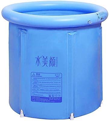 JoySee Heavy Duty Adult Size Folding Bathtub, Portable Plastic Bathtub, Blue
