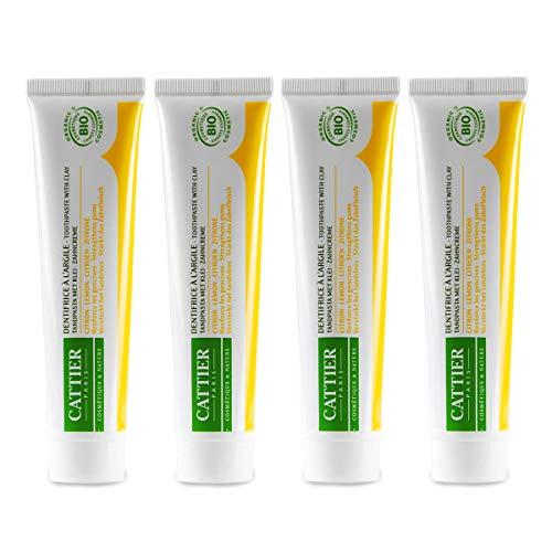 CATTIER PARIS Bio-Zitrone Zahncreme mit Heilerde (4x75ml), angenehm milde Bio-Zahnpasta, Zitronengeschmack, Remineralisierend, Vegan, Fluoridfrei, Sulfatfrei, Naturkosmetik, Homöopathieverträglich