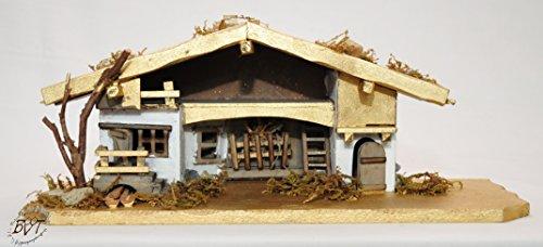 Preisvergleich Produktbild ÖLBAUM Holzkrippe,  Weihnachtskrippe BAYERNLAND,  mit Premium-DEKOSET Krippe mit Naturmaterialien dekoriert MASSIVHOLZ