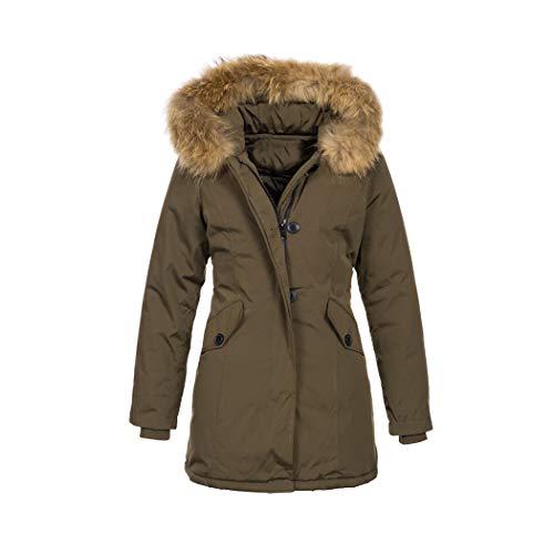Elara Damen Winterjacke Echt Fell Mantel Chunkyrayan 6015 Khaki 38/M