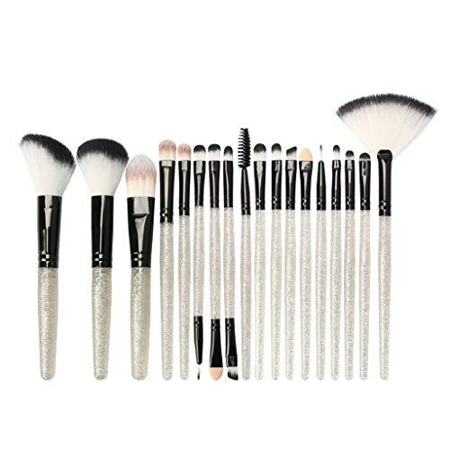 B Blesiya Kit de 18pcs Pinceau Maquillage Professionnel Brosse Poudre de Ombre à Paupière Blush Mélangeur Poudre de Fondation Eyeliner - Argent noir