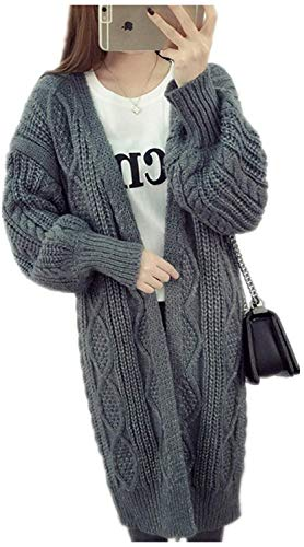 Strickjacke Damen Lang Dicke Warm Strickmantel Elegante Vintage Fashion Bekleidung Locker Lässige Herbst Winter Mädchen Sweater Cardigan Coat Einfarbig (Color : Grau, Size : One Size)