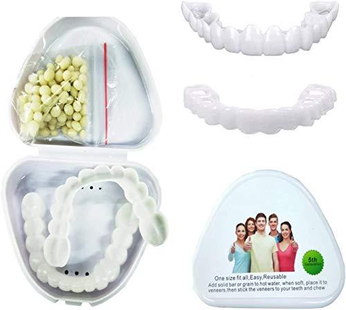 Carillas Dentales Kit De Dientes Temporales, Dientes Estéticos, Cosméticos Dentadura Postiza Superior E Inferior Reutilizable Y Extraíble para Cuidado Dental 4 Pares