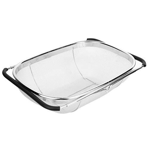 TOPINCN wastafel afvoermand inklapbaar verstelbare afvoerrek roestvrij staal voor het wassen spoelen fruit groenten voor keuken