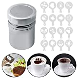 Stainless Steel Powder Shaker, Color Scissor Sugar Shaker with Lid for Coffee Cocoa Dredges/16 pcs Printing Molds Stencils