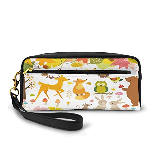 Pen Case,Leaf Fox Owl Bear Deer Animal Estuche Para Lápices, Útiles Bolsas De Maquillaje Para Cumpleaños, Día De San Valentín,20x5.5x8.5cm