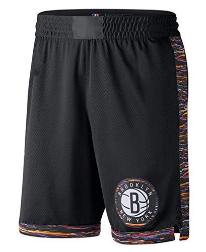GXHUI Pantalones Cortos de Baloncesto Brooklyn Nets para Hombre, Transpirables, de Alta Elasticidad, de Secado rápido, Pantalones Cortos Deportivos de Entrenamiento