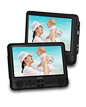 UEME 9.5 Dual Screen Portable DVD Player Car DVD Player 800x1024 HD LCD Screen USB/SD/MMC Card Readers Built-in 5 Hours Rechargeable Battery Stereo Sound Regions Free AV Out & in