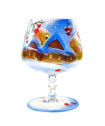 VICTORIA BELLA Bicchiere natalizio artigianale (candelabro) Scenario invernale con frassino di montagna 430ml.
