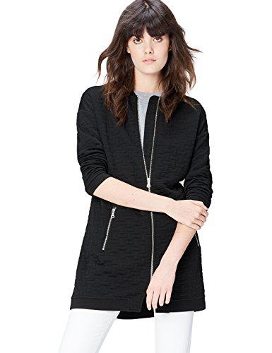 find. Bomberjacke Damen langer Schnitt und gestepptes Muster, Schwarz (Black), 36 (Herstellergröße: Small)