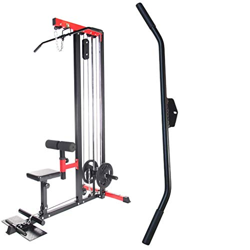 """38"""" Hollow Straight Bar Attachment LAT Pull Down Bar HOG Legs, Tricep Press Down Bar LAT Pull Down Bar Handle Attachment for Cable Machine, Non-Slip Handgrips & Revolving Hanger"""