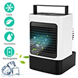 MOVTIP Portable Air Conditioner Fan, Personal Space Air Cooler Mini Evaporative Cooler Quiet Desk Fan, Air Circulator Humidifier Misting Fan for Home Office Bedroom (White)