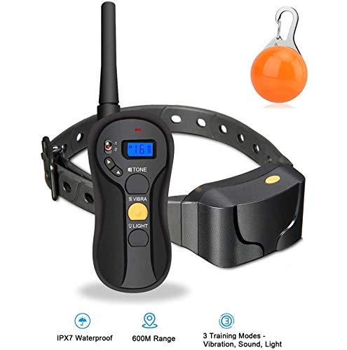 JIAMA Collar de Entrenamiento Remoto para Perros, Rango de 600 m para Cachorros y Perros, Entrenador de Mascotas Recargable e Impermeable IPX7 con pitido/vibración/luz y operación a ciegas