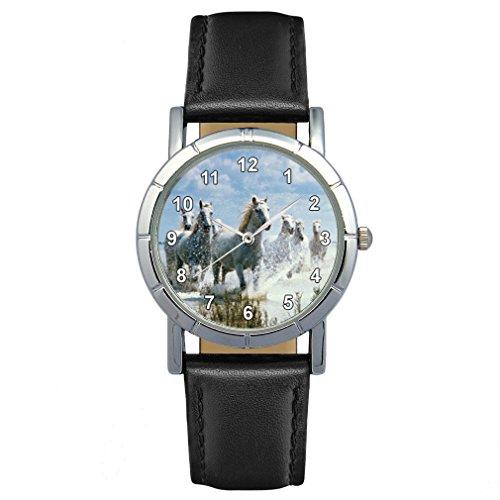 Timest - Caballos Salvajes Reloj para Mujer con Correa de Cuero Negro Analógico Cuarzo SA1451