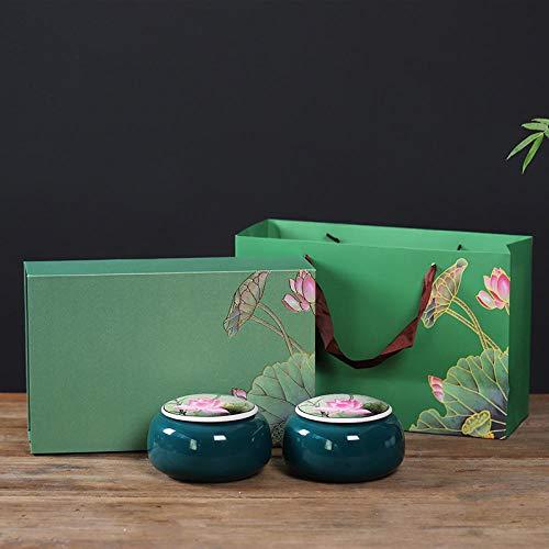 Ksnrang Latas de té Creativas Caja de Regalo roja Embalaje Personalizado Pu'er té Negro té Verde té de Hoja de Loto Medio una Lata sellada Creativa maliciosa-Latas Dobles Verde Oscuro + Caja Regalo