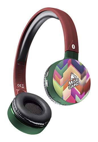 Musicsound Bluetooth-Kopfhörer mit ausziehbarem Kopfband, bunt, kabelloses Headset mit Mikrofon, LED-Anzeige und Fernbedienung auf Pavillions, Zickzack