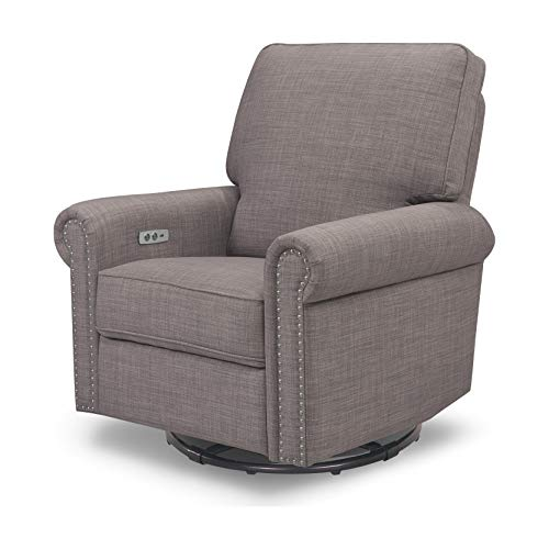 Million Dollar Baby Classic Linden Power Recliner and Swivel Glider in Grey Tweed, USB Charging Port, Push-Button Electronic Reclining Mechanism, Greenguard Gold Certified