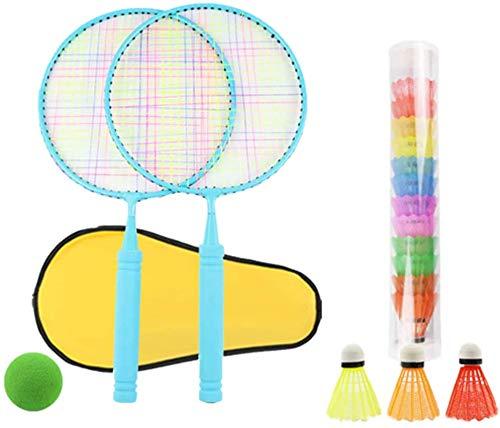 Panelk Deportes al Aire Libre de los niños de Raqueta, la Raqueta de bádminton Juguetes y Bola de Tenis de los niños 2 en 1 Grupo,Blue