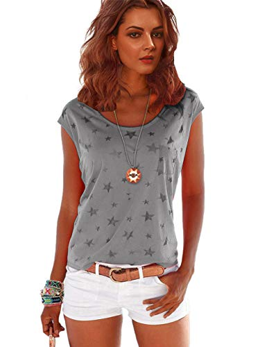 TrendiMax Damen T-Shirt Tops Ärmellos Basic Sommer Shirts Allover-Sternen Druck Sexy Oberteil (Braun, L)