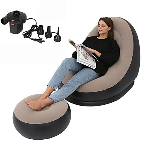 Sillón Inflable con Bomba eléctrica Blow Up Chaise Lounge Air Lazy Sofa, para el salón Silla de Cubierta Inflable para el Interior y al Aire Libre Camping Picnic,Gris