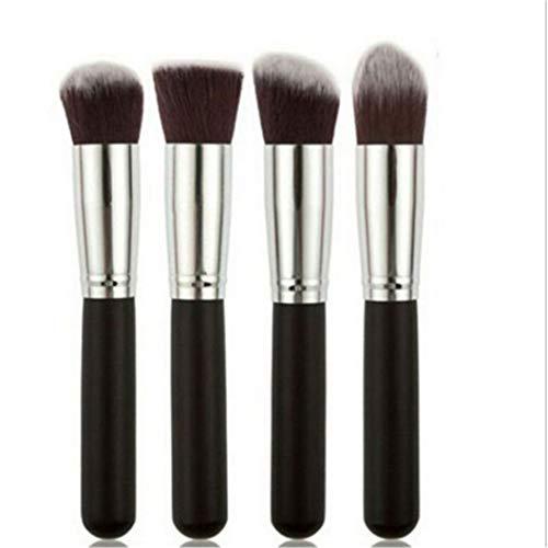 INSEET Grand Pinceaux De Maquillage 4 Pièces Pinceau De Maquillage Ensemble Premium Synthétique Fondation Pinceau Mélange Poudre Pour Le Visage Maquillage Pinceaux Kit, argent noir