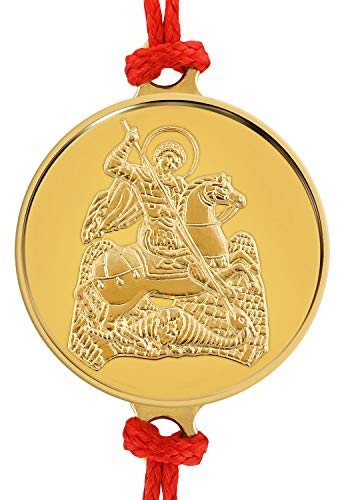 Pulsera artesanal de hilo rojo con delicada medalla de oro 18 Ktes religiosa San Jorge 0.06 oz. Talla única con Sistema de Nudo corredizo.