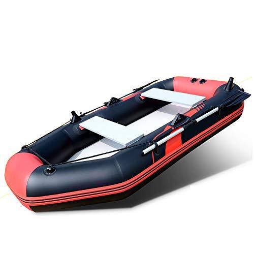 DMBHW Outdoor-Rafting Aufblasbar Schlauchboot 2.6M Verdicken 365kg Standhalten Angeln PVC-Material mit Ruder Seil und Luftpumpe,Red
