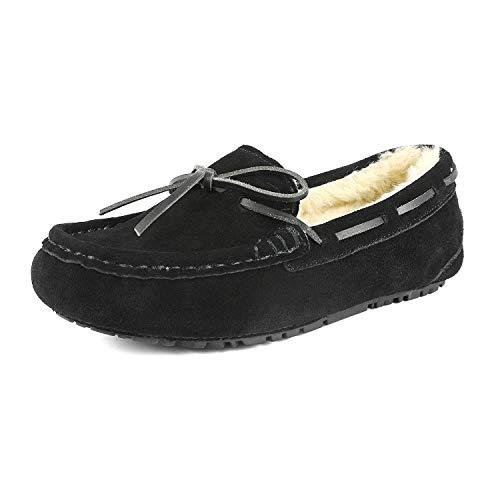 DREAM PAIRS Women's Auzy-02 Black Faux Fur Moccasin Slippers Size 6.5-7 B(M) US