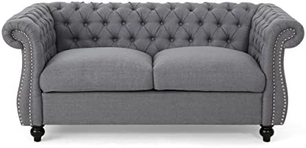 Best Christopher Knight Home Kyle Traditional Chesterfield Loveseat Sofa, Gray and Dark Brown, 61.75 x 33
